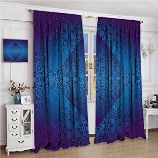 GUUVOR Victorian 99% Blackout Curtains Ombre Seamless Classic Design with Little Light in The Middle Artwork for Bedroom Kindergarten Living Room W96 x L96 Inch Blue Indigo Royal Blue