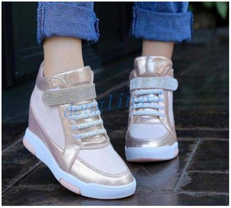 FidgetFidget Womens Girls High Top Insides Heels LacUp shoes Sneakers RhinestonWedges Pink US8=UK6=AU7=EUR 39
