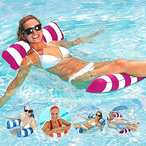 AUMIDY Hamaca Flotante Piscina, Tumbona Hinchable Piscina 4 en 1 Cama Flotante Floating Chair Hamaca para Piscina Hamaca de Agua Multiusos Hamaca de Natación para Flotador para Piscina, Playa (Rosa)