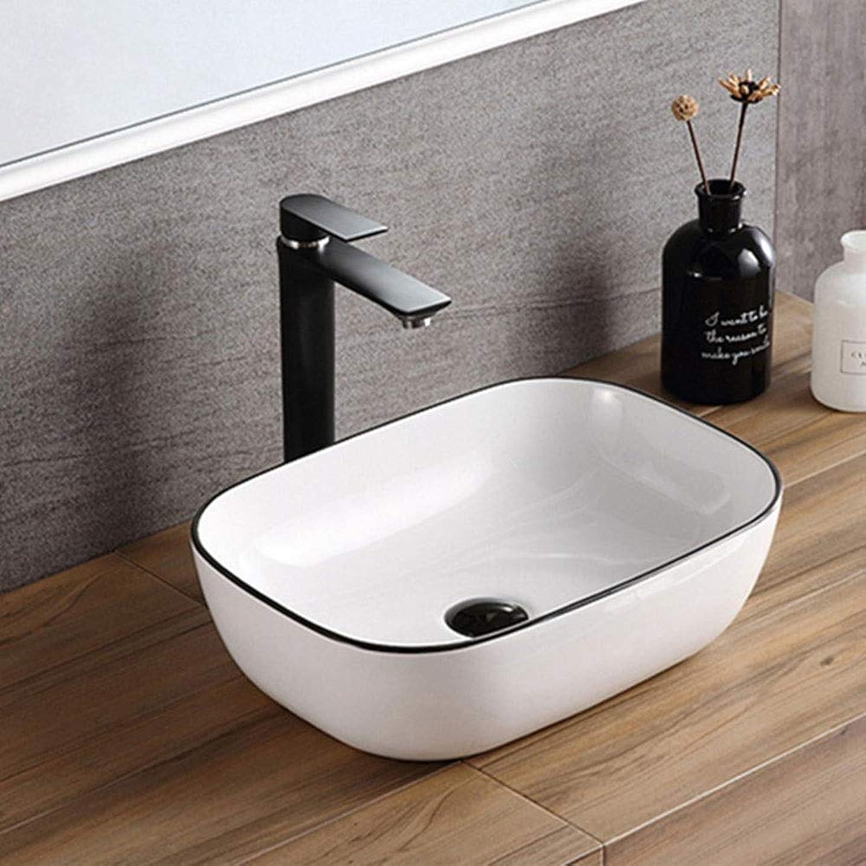 裁量結婚連邦カウンターバスルームのシンクの上にモダンな、 北欧アートの上カウンター盆地バスルームの容器シンク用キャビネット洗面化粧台 (Color : White, Size : 46x33x13.5cm)