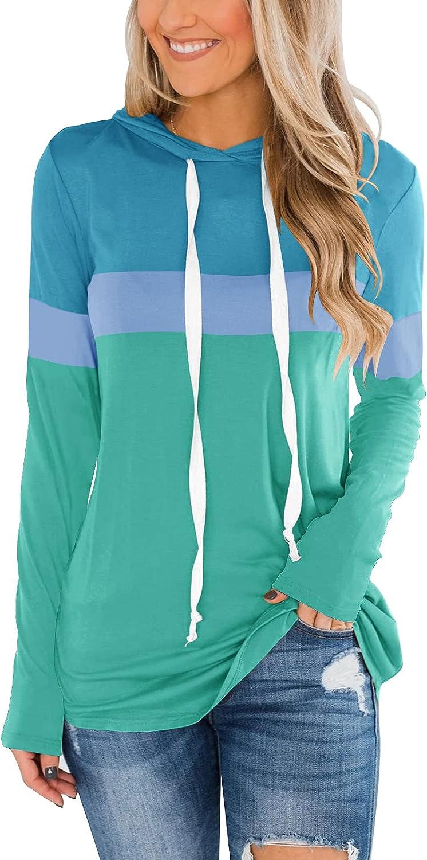Dbtanjy Women's Long Sleeve Color Block C Department store Neck Omaha Mall Round Tunics Tops
