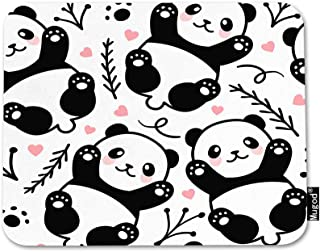 Mugod Panda Mouse Pad Cute Cartoon Animal Footprint Bamboo Pink Heart Wildlife Gaming Mouse Mat Non-Slip Rubber Base Mousepad for Computer Laptop PC Desk Office&Home Working 9.5x7.9 Inch