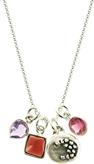 b.u. Reach for The Moon Gemstone Sterling Silver Charm Necklace 16