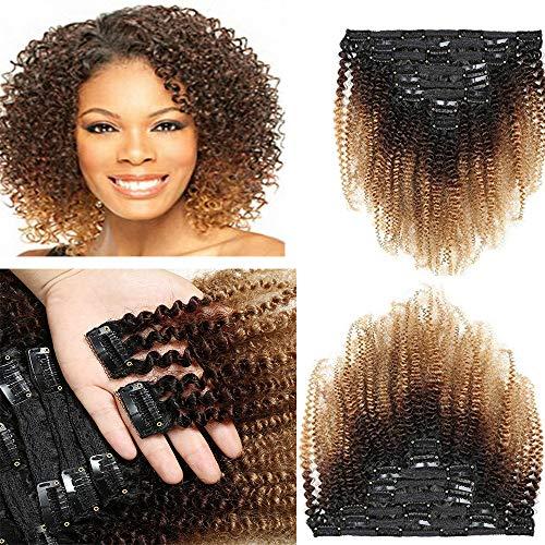 Morningsilkwig Afro Kinky Curly Cheveux 120g Clip in Pleine Tête 1B/4/30 Clips De Cheveux 8pcs/ensemble Brésilien Cheveux Humaine