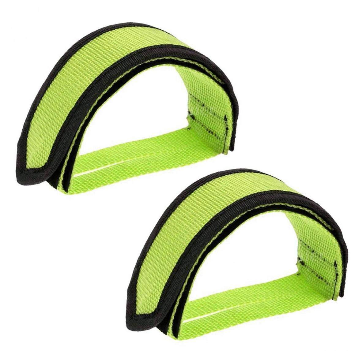 Pedal de Bicicleta Correas Anti Pedal Slip Clips de los pies Correas de Cinta Adhesiva de Deslizamiento Correas de Engranaje Fijo la Bici Verde 2pcs: Amazon.es: Deportes y aire libre