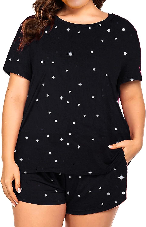 Plus Size Pajamas Womens Pajama Sets Shorts Pj Lounge Sets Cute Print Sleepwear with Pockets