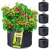 Garnen 37 Litre / 10 Gallon Sac à Plantation avec Poignées (5 Pièces), Sacs à Plantes en Non tissé Aération Tissu Pots Respirant Sac de Culture pour Plantation de Jardin Maison Balcon Jardin Légumes