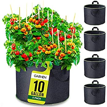 Garnen 10 Gallon Garden Grow Bags  5 Packs  Vegetable/Flower/Plant Growing Bags Nonwoven Fabric Pots Planter for Outdoor and Indoor Planting
