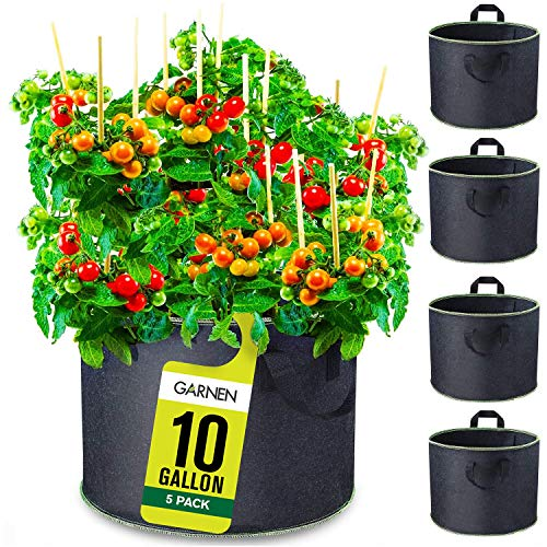 Garnen 10 Gallon Garden Grow Bags (5 Packs), Vegetable/Flower/Plant Growing Bags, Heavy...