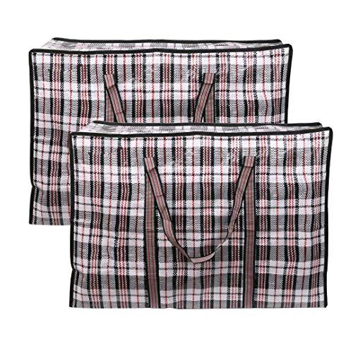 EDATOFLY Lot de 2 Sac de Rangement, Sac Rangement Vêtements Grande CapacitéSacs de Déménagement avec Fermeture à Glissière pour Le Linge, Les Déménagements, Les Courses (Noir, 90cm*60cm*25cm)