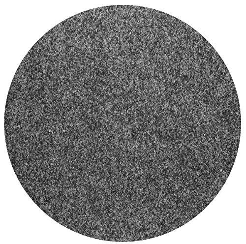 havatex Rasenteppich Kunstrasen mit Noppen 1550 g/m² rund - Anthrazit, Blau, Rot, Braun, Grau oder Beige | wasserdurchlässig | Balkon Terrasse Camping, Farbe:Anthrazit, Größe:200 cm rund