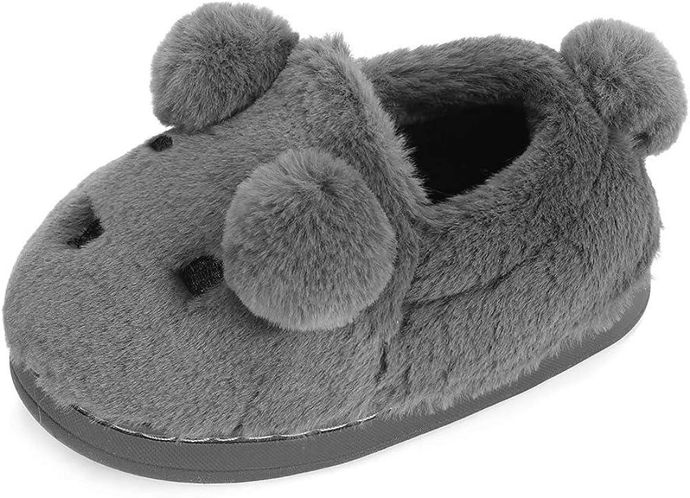 LACOFIA Toddler Boys Girls Warm Slippers Fluffy Anti-Slip Kids Winter House Shoes