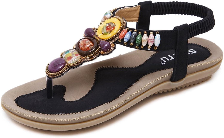 GFYDC Women's Bohemian Thong Sandal Elastic Back Strap Clip Toe Flats Sandals