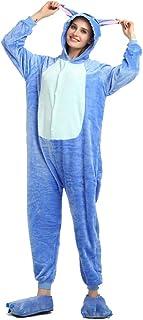 Pijama de invierno de una pieza, talla para adulto, de franela, azul, S (155-160cm)
