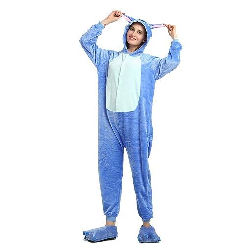 5e141d93cd28 Winter Warm Flannel Onesie Pajamas Adult Unisex One Piece Stitch Pajama