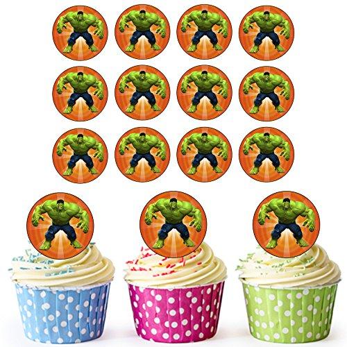 De ongelooflijke Hulk Superhero Cupcake Toppers/Cake Decoraties (Pak van 24) - Eenvoudige Precut Circles