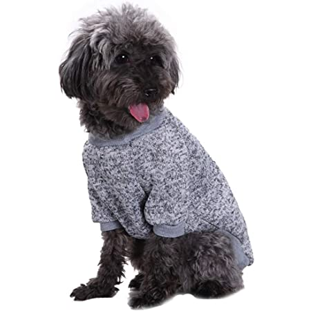 Jecikelon Pet Dog Clothes Knitwear Dog Sweater Soft Thickening Warm Pup Dogs Shirt Winter Puppy Sweater for Dogs (X-Small, Grey)