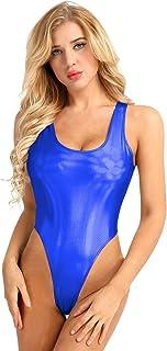 QinCiao Women's Wet Look Leather One Piece Leotard Solid Tank Swimsuit Thongs Swimwear