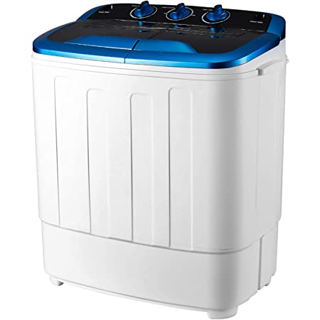Single- 7.7lbs Energy Saving 7.7LBS Capacity Electric Compact Semi Automatic Washer with Timer Control for Apartment Dorm RVs Camping Frifer Portable Mini Washing Machine with Spin Dryer