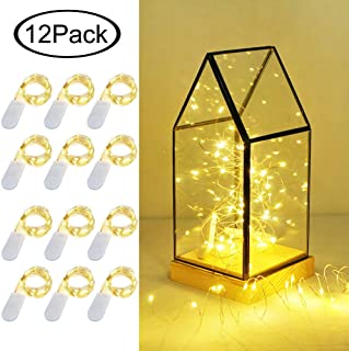 LoveNite Starry String Lights, 12 Pack Battery Operated 20 LED Fairy Lights Silver Wire Colorful Mini String Lights for DIY, Party, Decor, Christmas, Halloween,Wedding (Warm White)