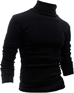 Nuofengkudu Mens Slim Fit Lightweight Long Sleeve Pullover Top Turtleneck T Shirt Blouse