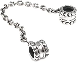 Sterling Silver Heart Safety Chain Screw-on European Style Bead Charm