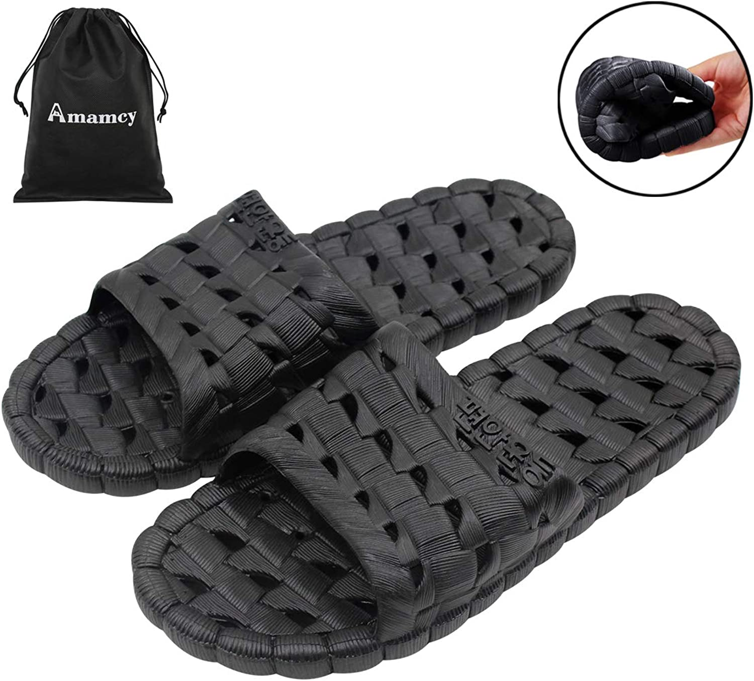 Amamcy Womens Mens Non-Slip Slippers Quick Drying Bathroom Shower Sandals Soft Sole Slide Water shoes
