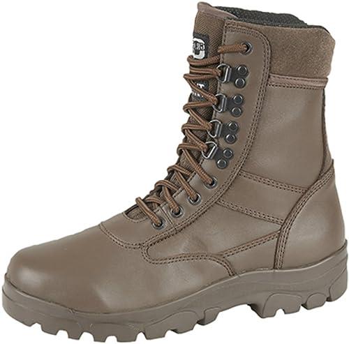 Grafters Bottes de combat hautes avec semelle en acier, pour cadets de la police ou de l'armée - Noir - Top Gun marron, 37