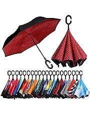 [Amazonブランド] Eono(イオーノ) 逆さ傘 逆転傘 逆折り式傘 自立て傘 長傘 C型手元 耐強風 UVカット 撥水加工 防強風 丈夫 晴雨兼用 車用 ビジネス用 遮光遮熱