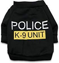 DroolingDog Pet Dog Clothes POLICE K-9 UNIT Canine Tee Shirt Costume for Small Dogs, S, Black