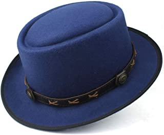 SAIPULIN-AU Men's and Women's Flat Top Cap Fedora Ms. Fascinator Casual Wild Style British Style Top Hat Fedora Hat (Color : Blue, Size : 58)