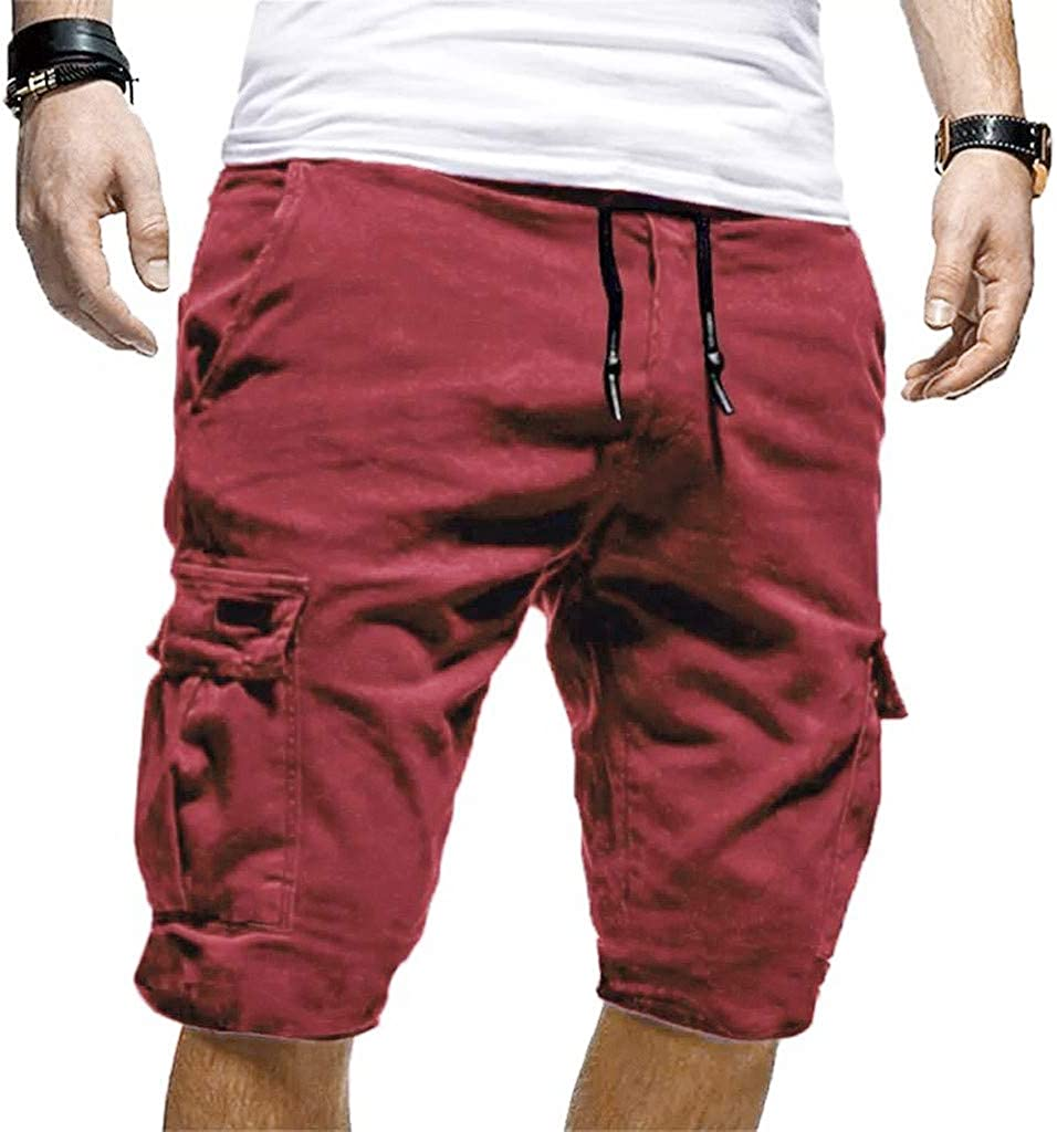Men's Shorts with Zipper Pockets Beach Work Joggers Casual Cargo Short Drawstring Elastic