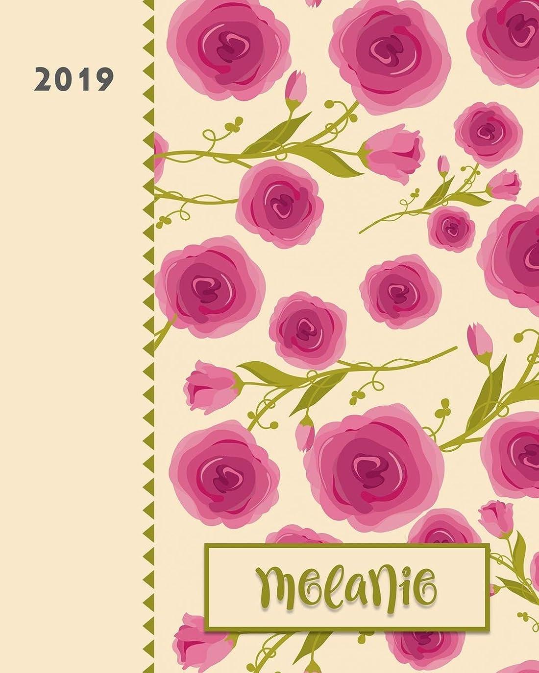 広がり小道勢いMelanie 2019: Personalized Weekly Planner including Monthly View | 12 Months January to December | Fanciful Pink Roses Design on Cream