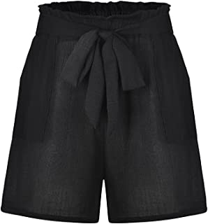 Zeshlla Essential Fashion Modern Women Pure Color High Waist Bandage Easy Elastic Casual Short Pants