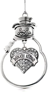 Inspired Silver - Donate Blood Charm Ornament - Silver Pave Heart Charm Snowman Ornament with Cubic Zirconia Jewelry