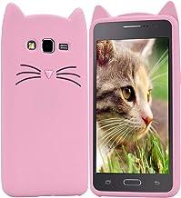 HopMore Gato Funda para Samsung Galaxy Grand Prime G530 Silicona Motivo 3D Divertidas TPU Gel Kawaii Carcasa Galaxy G530 Ultrafina Slim Case Antigolpes Caso Protección Dibujo Gracioso - Gato Rosa