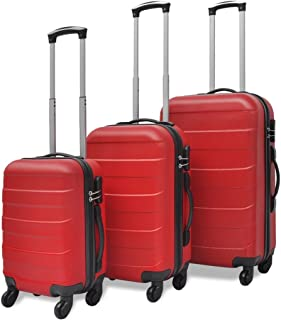 3 PC Luggage Set Light Suitcase ABS Trolley Hardside Case Travel Trip Lock Red