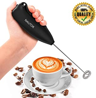 Milk Frother Handheld Battery Operated Electric Foam Maker for Coffee, Lattes, Cappuccino, Matcha and Hot Chocolate, Mini Blender and Foamer with Stainless Steel Whisk, FDA Approved