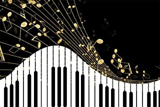 AOFOTO 6x4ft Abstract Black and White Piano Keyboard Background Classic Music Notes Play Elegant Musical Instrument Theater Concert Backdrop Poster Photo Studio Props Vinyl Banner