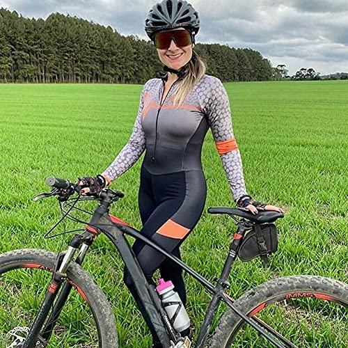 TRIATHLON Damen Langarm Radfahren Kleidung Set Mountainbike Kleidung Radfahren Wear Overall Lange Hose (Color : 3, Size : Small)