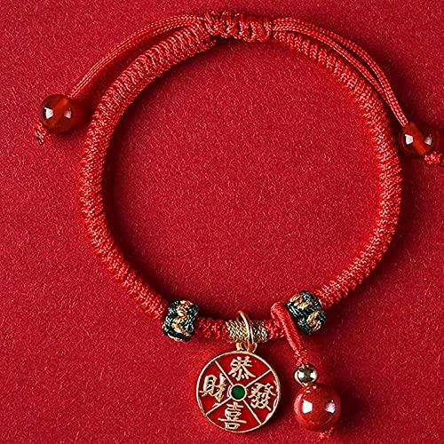 Pulsera china Pulsera hecha a mano Feng Shui Feng shui riqueza amuleto pulsera plateado afortunado gato colgante ruyi lock gong xi fa cai colgante colgante pulsera braidada ajustable cinabrio rojo aga