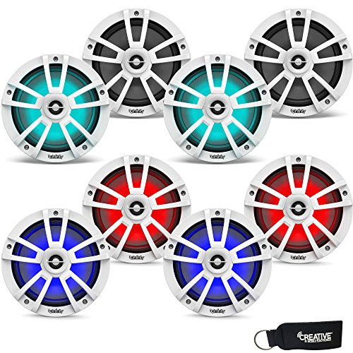 Infinity Marine Bundle - Four Pairs of Infinity 822MLW Marine 8 Inch RGB LED Coaxial Speakers - White