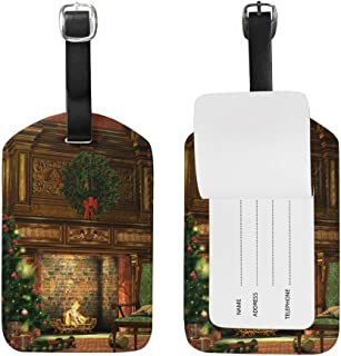 Luggage Tag for Baggage Suitcase Winter Holiday Fireplace Christmas Tree Leather Travel Bag Address Labels 1 Piece