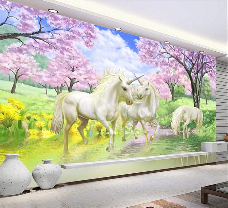 diseño simple y generoso Papel Papel Papel pintadono tejido3D Mural Wallpaper Unicorn Dream Cherry Blossom Tv Fondo Wall Pictures For Kids Room Papel pintado de la sala de estar, 200  140cm  Tienda 2018