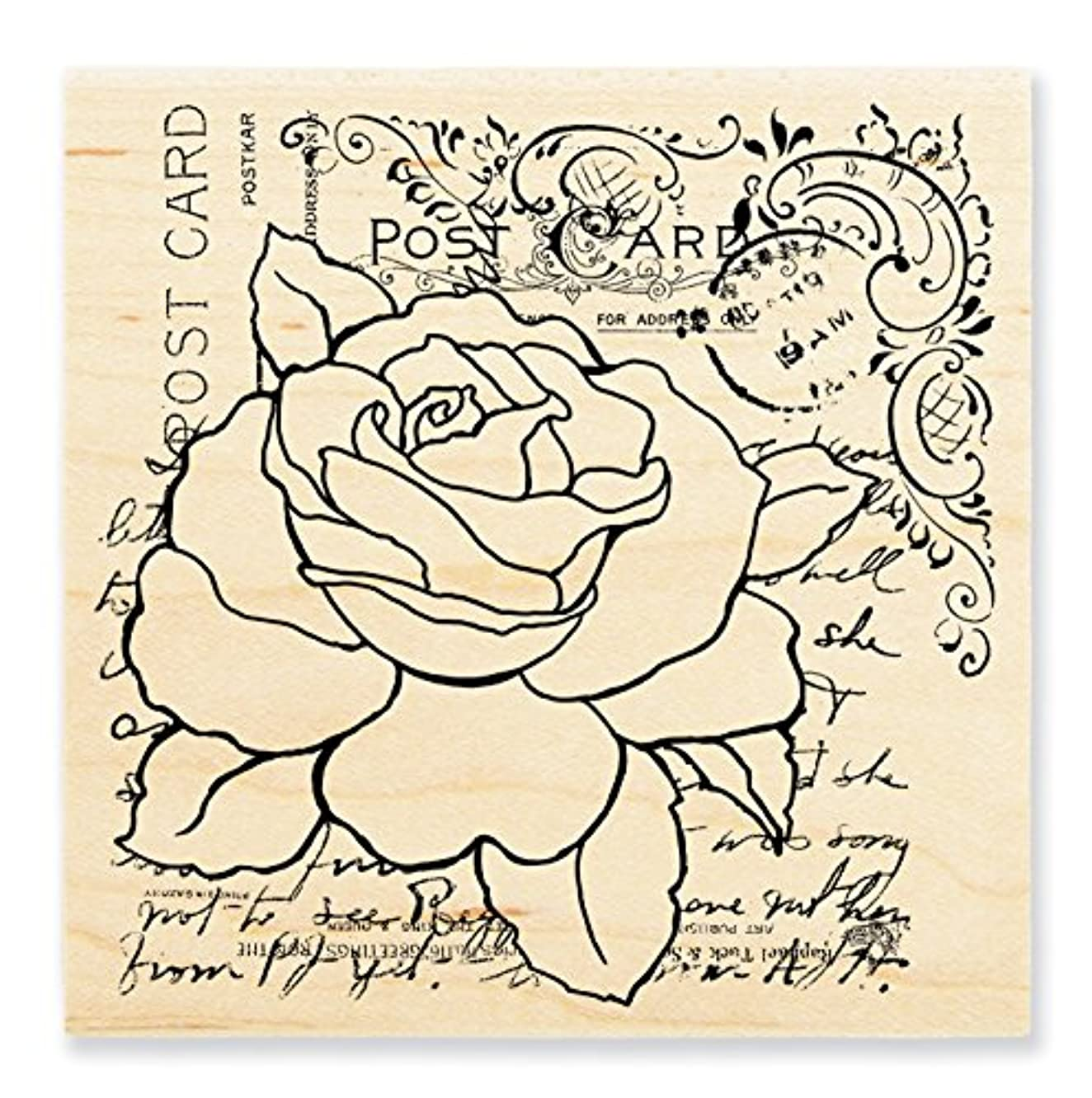 STAMPENDOUS Wood Rubber Stamp Rose Postcard