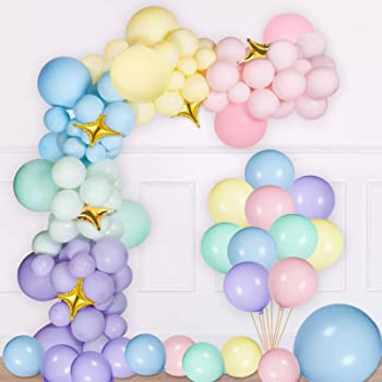 NPLUX Pastel Latex Balloons 185 Pcs Assorted Macaron Balloons Garland Kit for Baby Shower Wedding Birthday Party Supplies