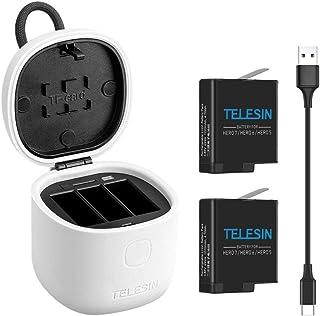 TELESIN GoPro Hero 7/Hero 6/Hero 5 black/gopro hero Allinbox3 in1収納式多機能充電セット 2個互換バッテリー+充電器+Type-Cケーブル 3個同時充電可能 カードリーダー機能+バッテリー収納+TF カード収納USB3.0で超高速データ転送 IP54の防水性能 耐火PC材料 放電防止 (充電器+2バッテリー)