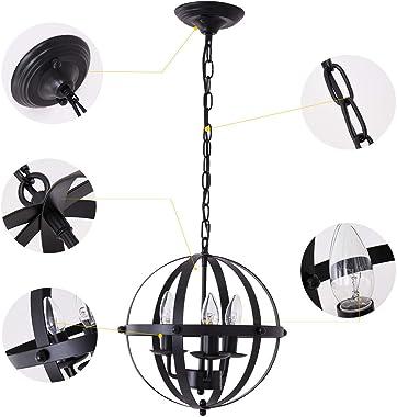 Ganeed Pendant Light,Industrial Globe Pendant Lighting,Vintage Chandelier Spherical Hanging Light,Ceiling Light Fixture for K