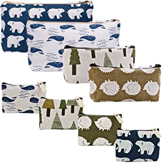 Selizo 8 Packs Canvas Pencil Case Cosmetic Bag Makeup Bag Cute Pencil Money Pouches