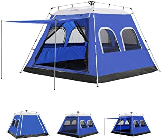 ayamaya Camping Tents 3-4 Person Instant Pop Up Easy Quick Setup, Ventilated [2 Door] [Mesh Window] 3 Season Family Privacy Dome Tent Shelter for Backpacking Picnic Travel